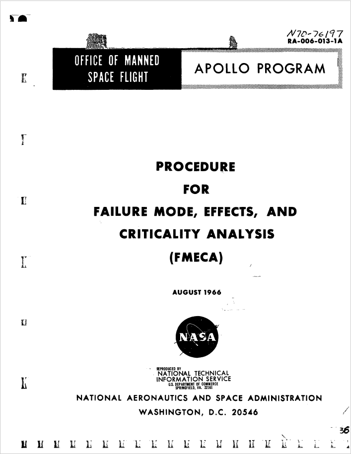 Procedure for Failure Mode, Effects, e Criticality Analysis (FMECA)